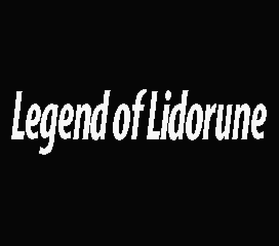 Title screen for Legend of Lidorune (sample game) in the new English patch for Active RPG Construction Tool Dante 2