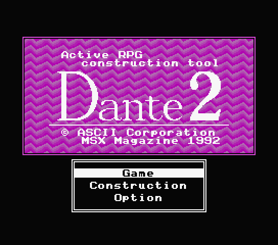 Title screen for the new English patch for Active RPG Construction Tool Dante 2
