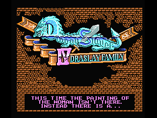 Title screen with hint for music mode for the new English patch for Dragon Slayer IV: DraSlay Family