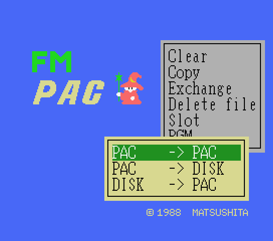 Use the copy command in the new English patch for FM Pana Amusement Cartridge a.k.a. FM PAC