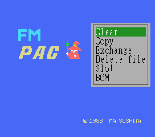 Title screen for the new English patch for FM Pana Amusement Cartridge a.k.a. FM PAC