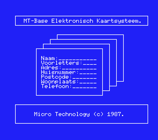 Title screen for the original Dutch version of MT-Base)