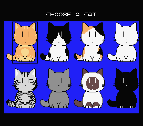 Cat select screen for the new English patch for Nyan Puzzle a.k.a. Meow Puzzle
