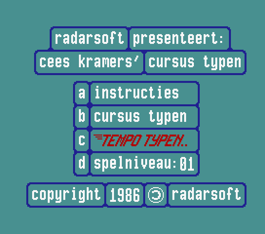 Title screen for the original Dutch version of Tempo Typen)