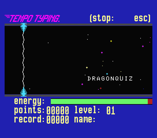 Game of the new MSX themed version of Tempo Typing